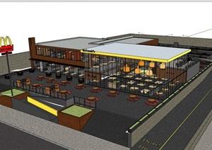 现代风格两层详细的餐厅建筑设计SU(草图大师)模型