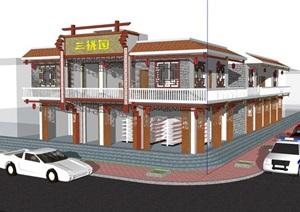 中式风格两层餐厅建筑设计SU(草图大师)模型