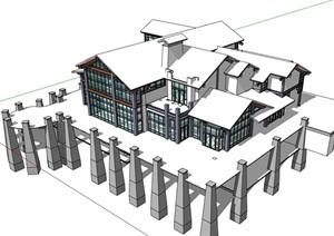 中式风格会所餐厅建筑设计SU(草图大师)模型