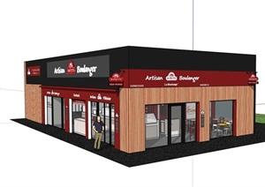现代单层餐厅建筑设计SU(草图大师)模型