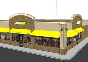单层快餐餐厅建筑设计SU(草图大师)模型