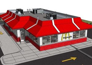 欧式快餐餐厅建筑设计SU(草图大师)模型