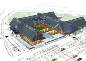 某食堂餐厅建筑设计SU(草图大师)模型