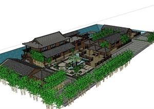 中式风格酒楼茶楼休闲馆建筑SU(草图大师)模型