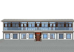中式风格两层茶楼休闲馆设计SU(草图大师)模型