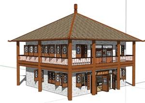 两层中式茶楼休闲馆建筑SU(草图大师)模型