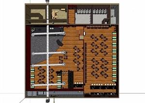 现代详细的餐厅内部室内装饰SU(草图大师)模型