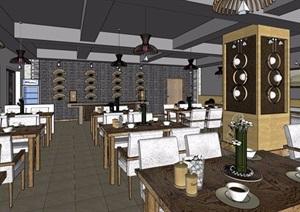 某完整的现代餐厅内部室内装饰SU(草图大师)模型