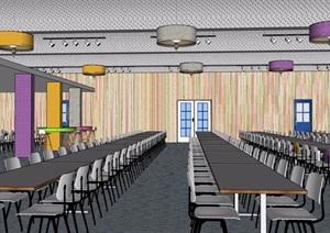 现代风格食堂餐饮内部室内装饰SU(草图大师)模型