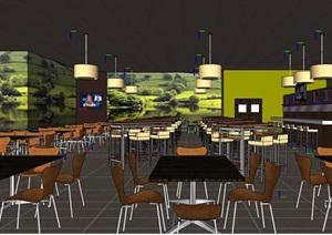 某现代详细餐厅内部室内装饰SU(草图大师)模型
