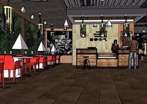 现代风格餐厅内部室内装饰SU(草图大师)模型