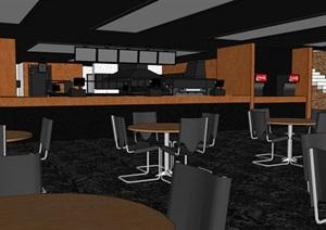独特现代餐厅内部室内装饰SU(草图大师)模型