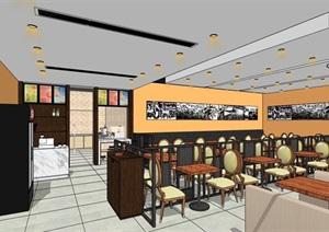 现代独特餐厅内部室内装饰SU(草图大师)模型