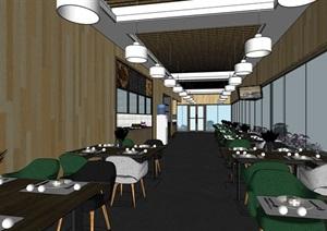 现代完整的餐厅内部室内装饰SU(草图大师)模型