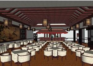 某中式餐厅内部室内装饰SU(草图大师)模型