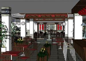 中式详细餐厅内部室内装饰SU(草图大师)模型