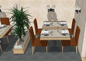 某现代独特餐厅内部室内装饰SU(草图大师)模型