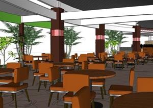 现代室内餐饮餐厅内部室内装饰SU(草图大师)模型