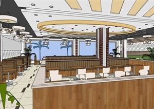 现代风格餐饮内部室内装饰SU(草图大师)模型
