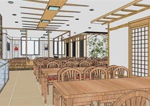 现代风格完整的餐厅内部室内装饰SU(草图大师)模型