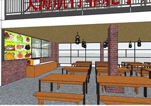 中式风格室内餐厅内部室内装饰SU(草图大师)模型