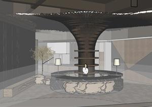 现代餐厅内部室内装饰SU(草图大师)模型