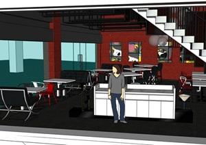 餐厅餐饮空间室内装饰SU(草图大师)模型