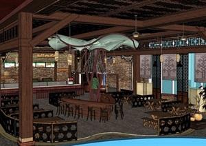 现代室内餐厅内部室内装饰SU(草图大师)模型