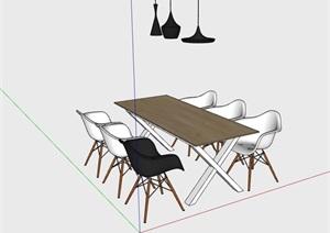 六人餐桌椅室内家具素材设计SU(草图大师)模型