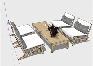现代沙发茶几室内家具素材设计SU(草图大师)模型