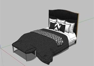 卧室床室内家具素材设计SU(草图大师)模型