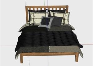 卧室木质床室内家具素材设计SU(草图大师)模型