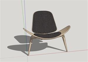 简约单人椅室内家具素材设计SU(草图大师)模型