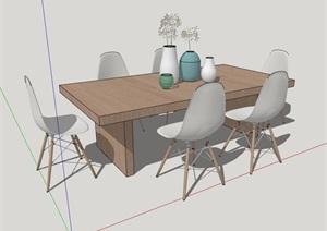 现代简约餐桌椅室内家具素材设计SU(草图大师)模型