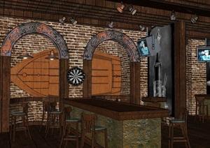 咖啡厅内部室内装饰设计SU(草图大师)模型