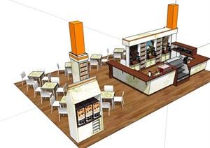 独特咖啡厅内部室内装饰设计SU(草图大师)模型