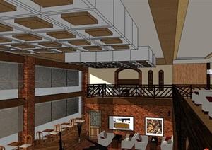 某现代咖啡厅内部室内装饰设计SU(草图大师)模型