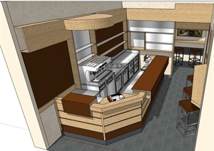 简单咖啡厅内部室内装饰设计SU(草图大师)模型