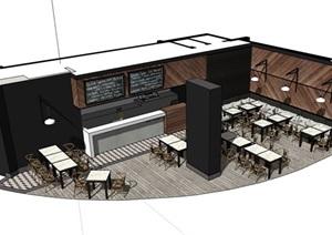 现代咖啡厅内部室内装饰设计SU(草图大师)模型