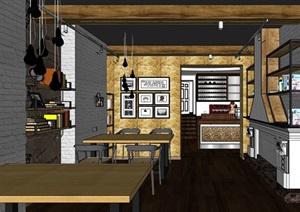 详细的整体咖啡厅内部室内装饰设计SU(草图大师)模型