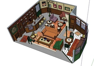 现代独特完整咖啡厅内部室内装饰设计SU(草图大师)模型
