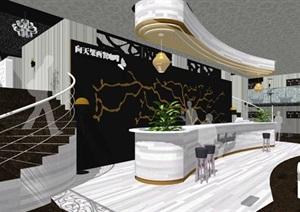 咖啡厅餐饮室内装饰设计SU(草图大师)模型