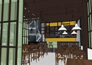 现代独特咖啡厅内部室内装饰设计SU(草图大师)模型