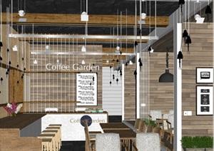 现代完整的咖啡厅内部室内装饰设计SU(草图大师)模型