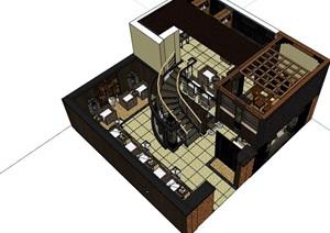 详细的咖啡厅内部室内装饰设计SU(草图大师)模型
