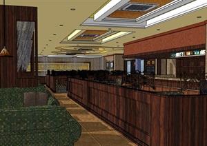 某详细咖啡厅内部室内装饰设计SU(草图大师)模型