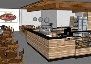 现代咖啡厅室内装饰设计SU(草图大师)模型