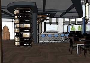 详细咖啡厅内部室内装饰设计SU(草图大师)模型