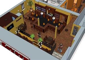 完整的咖啡厅内部室内装饰设计SU(草图大师)模型
