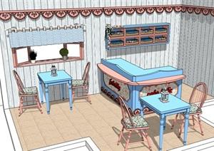 简单的咖啡厅内部室内装饰设计SU(草图大师)模型